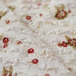 Tissu seersucker blanc fleurs rouge