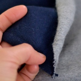 Tissu sweat en coton bio bleu marine