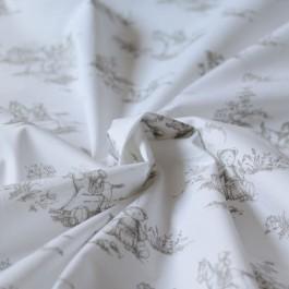 Tissu toile de jouy bébé imprimé ours vintage au mètre