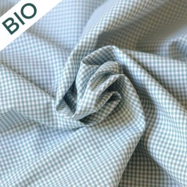 Tissu vichy petits carreaux vert en coton bio