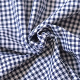 Tissu vichy carreaux bleu marine