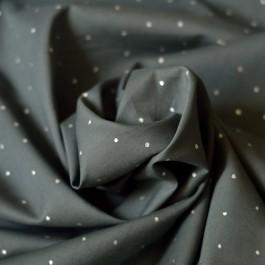 Tissu voile de coton bio gris à pois argents