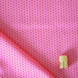 Cotonnade à pois rouge framboise sur fond rose clair Froufrou