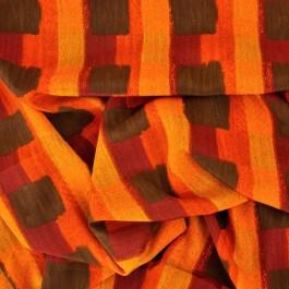 Coupon de 1 m tissu imprimé de carré bruns sur orange