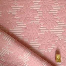 Tissu piqué damassé à fleurs coloris flamant rose