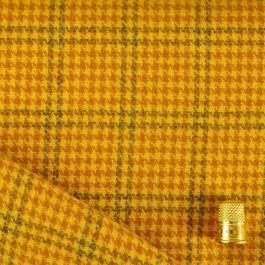Coupon de 1,65 m de Lainage pied de poule jaune et orangé