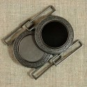 Boucle de ceinture métal ronde, noire ou canon de fusil