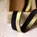 Biais élastique lurex or sur noir