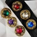 Bouton bijou doré à strass 6 couleurs