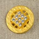 Bouton doré à 9 strass 23 mm