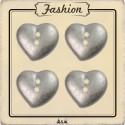 Bouton coeur argent 15 mm