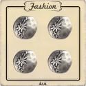 Bouton métal argent edelweiss
