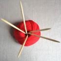 Aiguilles à tricoter double pointes en bambou