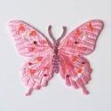 Écusson papillon rose et perles