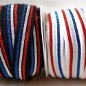 Élastique lurex 20 mm drapeau français noir ou blanc