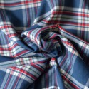 Tissu à carreaux rouge fond bleu flanelle de coton
