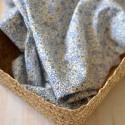 Tissu voile de coton fleurs bleu et jaune Bio