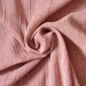 Tissu lin et coton crepon rayures terracotta