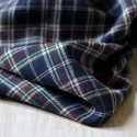 Tissu flanelle écossais bleu marine, blanc, rouge coton Bio