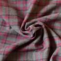 Tissu flanelle à carreaux rouge framboise et gris