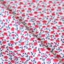 Tissu fleurs rose et bleu popeline coton