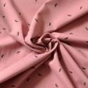Tissu jersey Bio rose imprimé plumes
