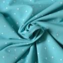 Tissu jersey bleu turquoise à pois argent Bio
