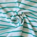 Tissu interlock Bio marinière vert