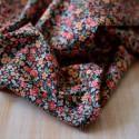 Tissu popeline coton Bio fleuri rose et noir