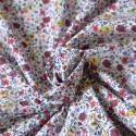 Tissu cotonnade fine à fleurs rouges