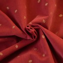 Tissu velours milleraies feuilles or sur corail