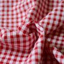 Tissu seersucker vichy rouge gaufré recyclé