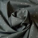 Tissu voile de coton gris pois argent Bio
