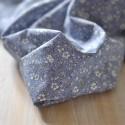 Tissu voile de coton Bio fleuri fond bleu