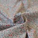 Tissu voile fleurs rouge gris coton Bio