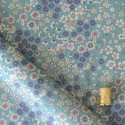 Tissu imprimé fleuri bleu vert