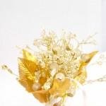 Perles montées sur brin métal doré