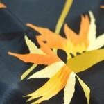 Tissu fluide grande fleurs jaune polyester