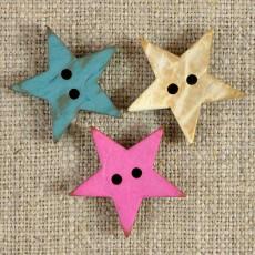 Bouton étoile coco laqué 3 couleurs