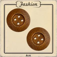 Gros bouton en bois brun 4 trous