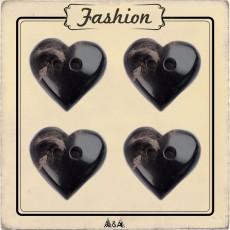 Bouton coeur corne noir