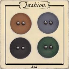 Gros bouton pour manteau d'hiver vert, marron, noir et gris