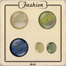 Bouton rond marbré beige, vert, bleu
