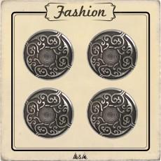 Bouton métal rond arabesque 15 mm