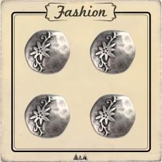 Bouton métal argent à fleur gravée