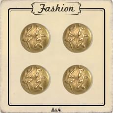 Bouton or en métal avec relief feuillage et branche