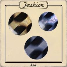 Bouton rayures noires et bleues, beiges