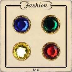 Bouton Or Diam bleu, rouge, vert et jaune