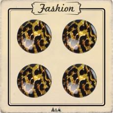 Bouton tigré noir et jaune doré 22 mm