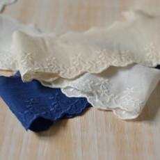 Galon broderie anglaise beige, bleu et blanc au mètre à coudre pour robe